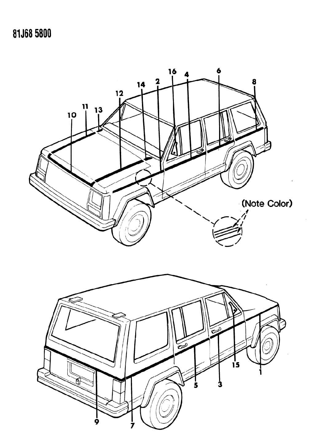 jeep cherokee decals  exterior pinstripe xj wagoneer