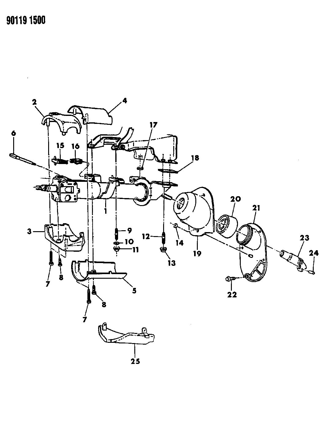 1990 plymouth laser column  steering  upper and lower g j body