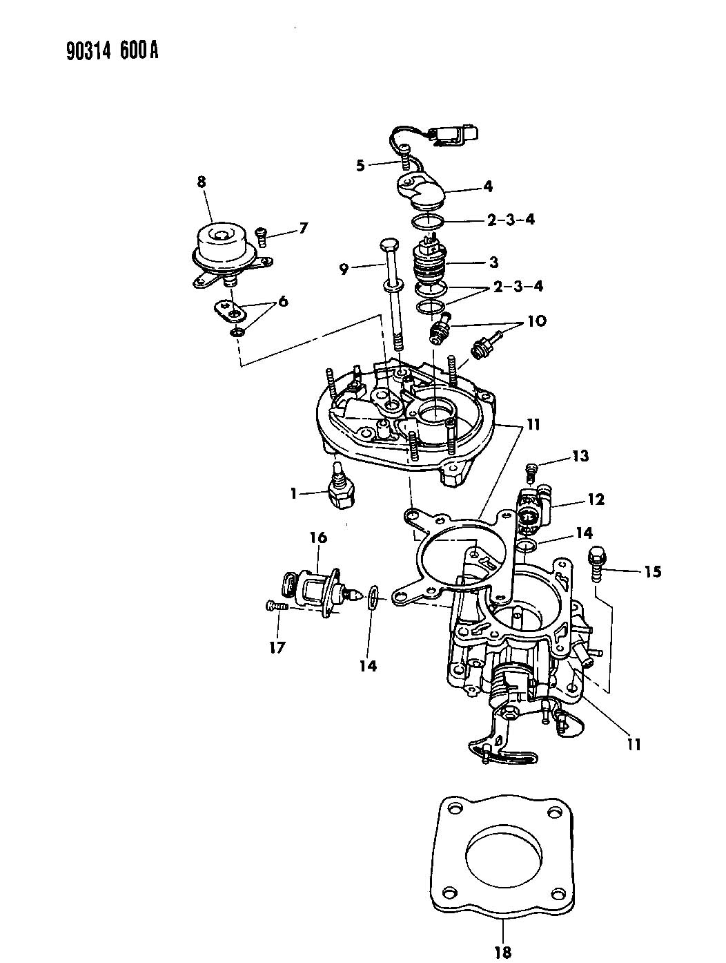 1992 dodge dakota throttle body 2 5l engine n body