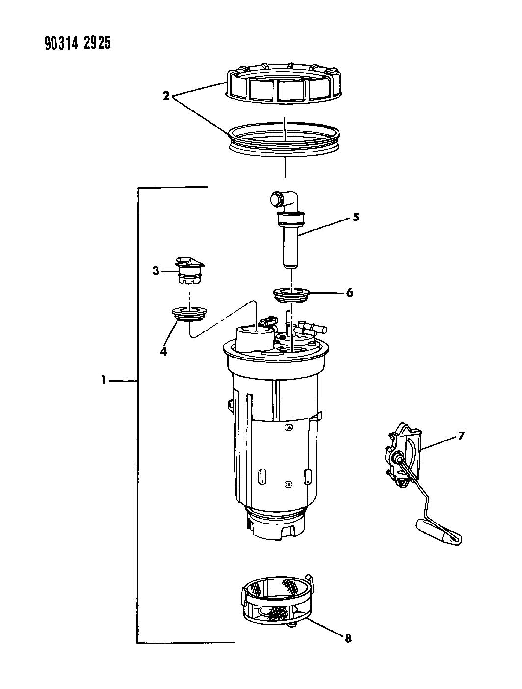1993 Dodge Dakota Fuel Pump And Level Unit 2 5 3 9 5 2