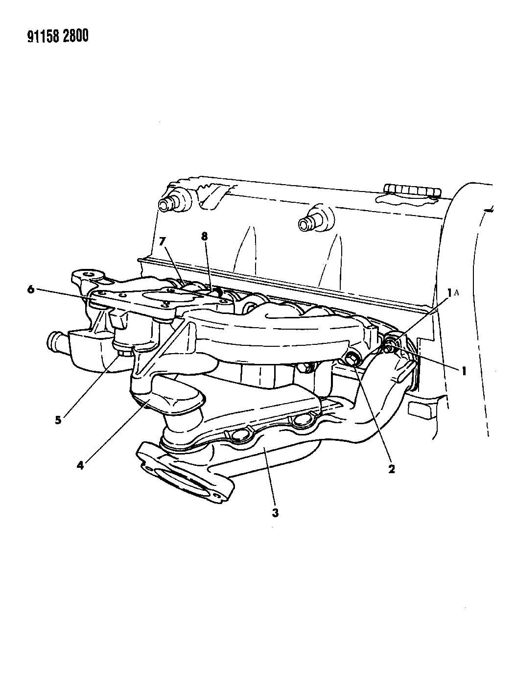 1991 dodge shadow manifolds  intake  u0026 exhaust 2 5 l engine