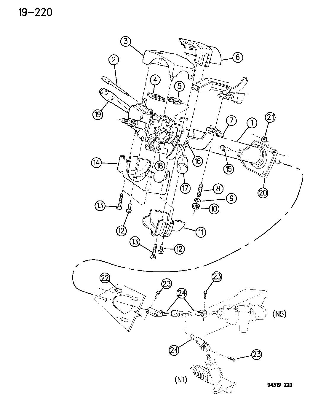dodge dakota tilt steering parts diagram  dodge  auto
