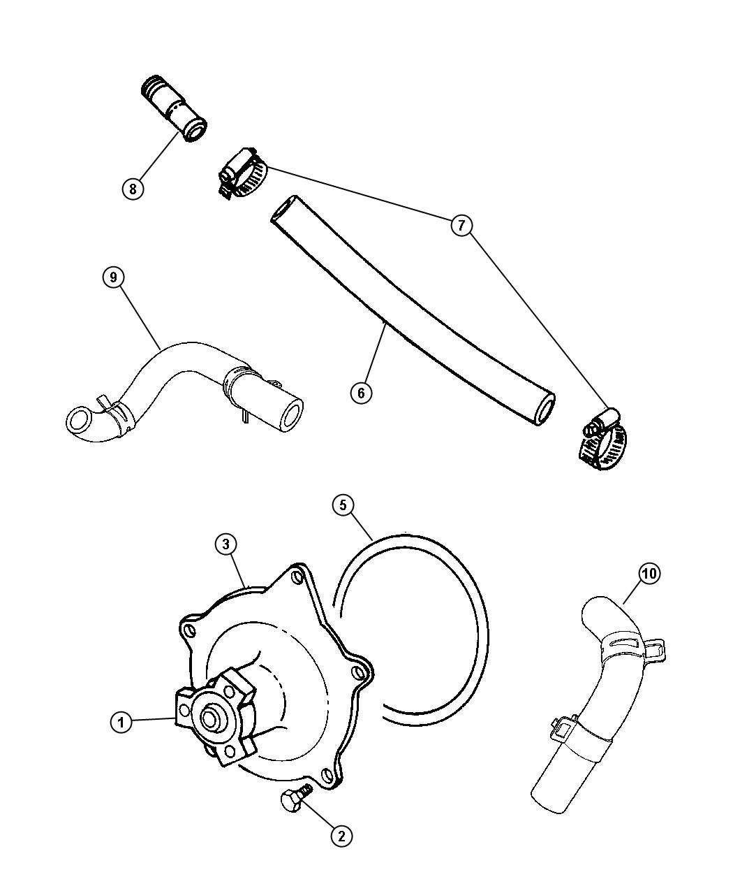 2000 chrysler grand voyager water pump and related parts