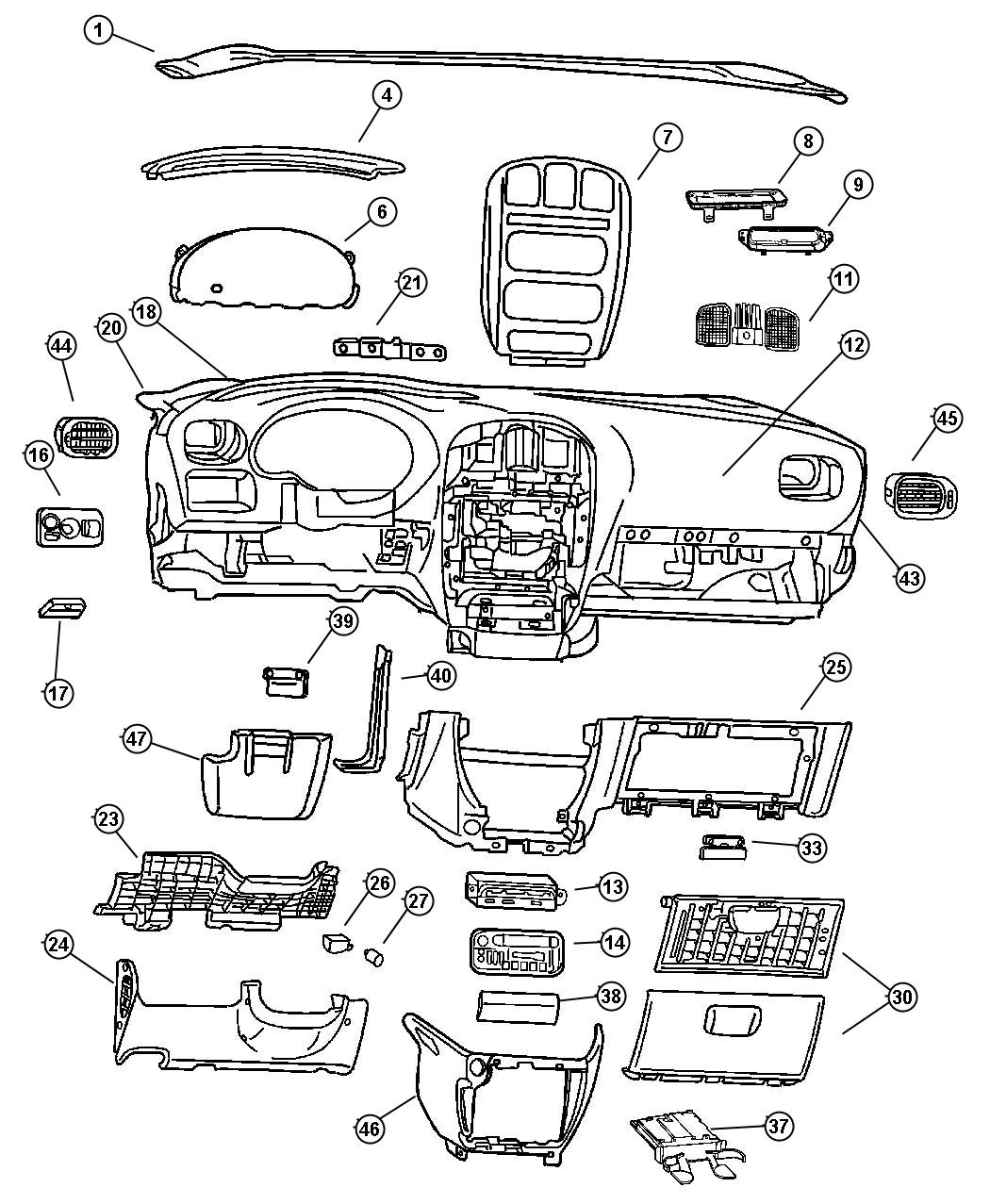1999 Dodge Ram 1500 Dashboard Replacement on 2000 dodge intrepid parts diagram