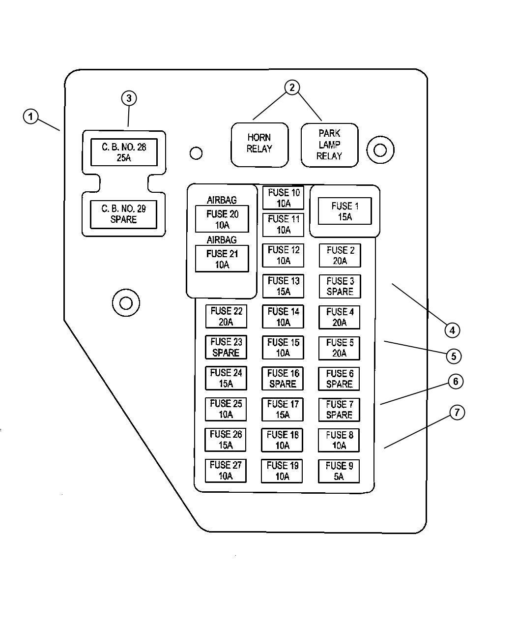 2002 dodge dakota junction block relays and fuses
