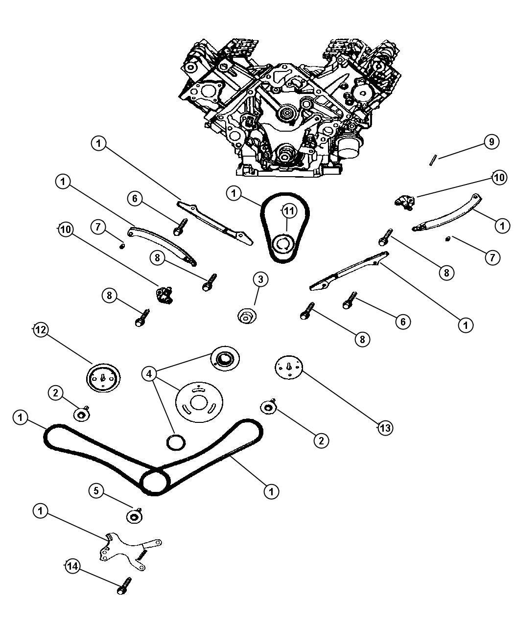 2003 Dodge Dakota Timing Chain And Guides, 4.7L [EVA]
