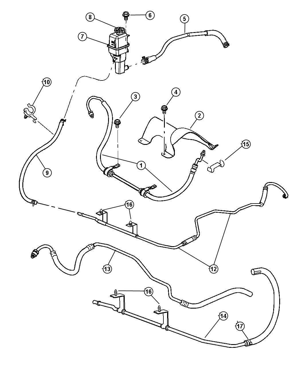 2005 dodge stratus hoses  reservoir  power steering