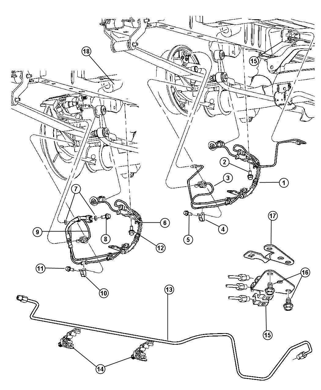 Dodge Caravan Lines and Hoses, Rear Brakes