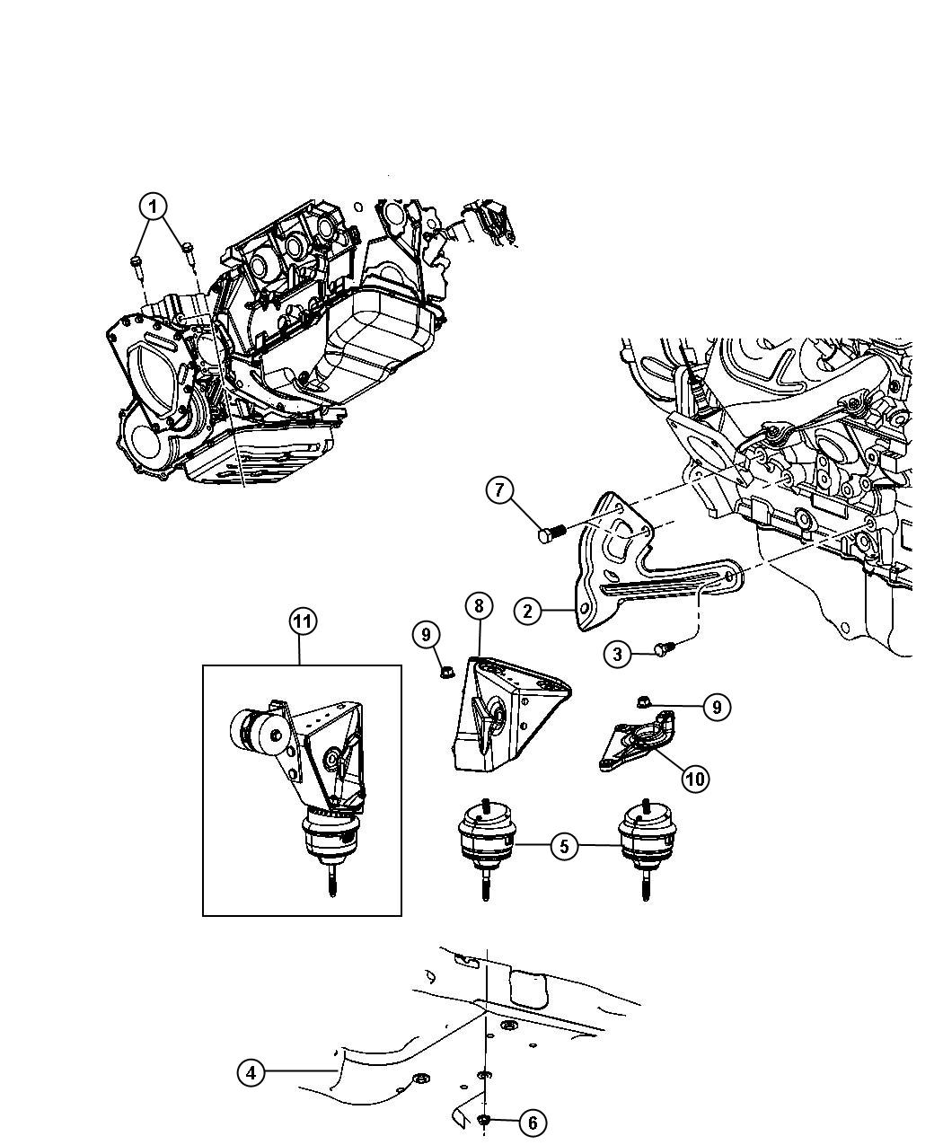 2007 pacifica motor mount diagram