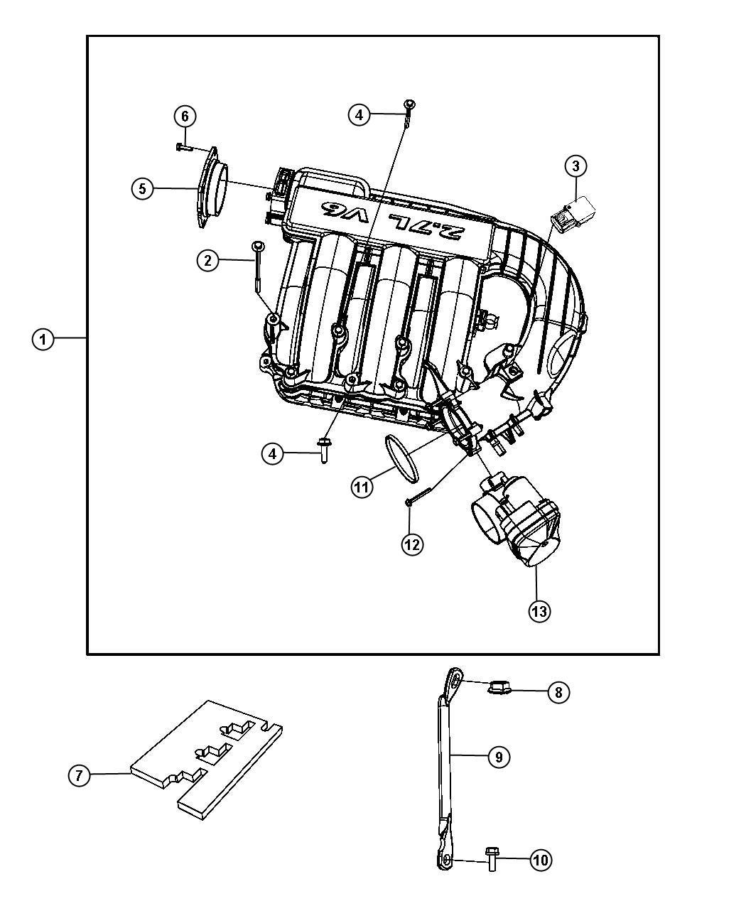 dodge magnum upper intake manifold plenum 2 7l  eer